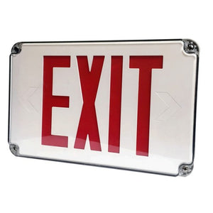 Morris LED Wet Location Exit Signs Red Legend