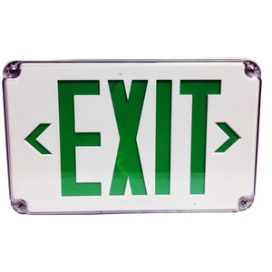 Morris LED Wet Location Exit Signs Green Legend
