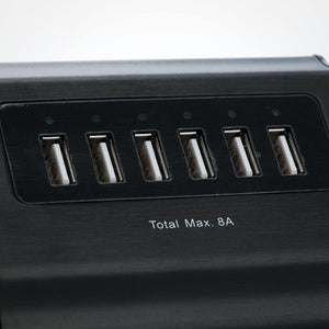 6 Port USB Wall Charger - 5V 8 Amps Zoom View