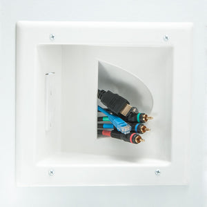 DataComm Recessed Bulk Cable Wall Plate w/ Angled Power