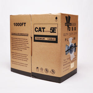 Vertical Cat5e Bulk Cable - 1000ft & Solid Plenum Black