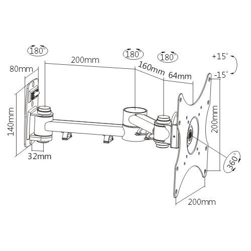 Rhino Brackets Full Motion TV Wall Mount Bracket for 23-42 Inch Screens, Single Arm