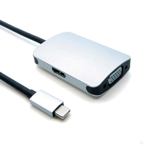 USB-C to VGA and HDMI Adapter - USB Type C Male to VGA/HDMI Female