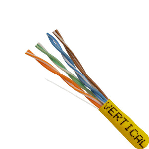 Closeup of 1000ft Cat5E Solid Cable Yellow