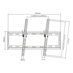 Rhino Brackets Low Profile Tilt TV Wall Mount for 37-70 Inch Screens Diagram