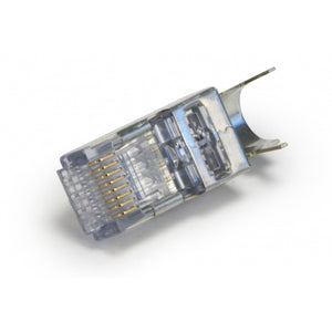 Closeup of ezEX 44 Shielded External Ground CAT6 Connector