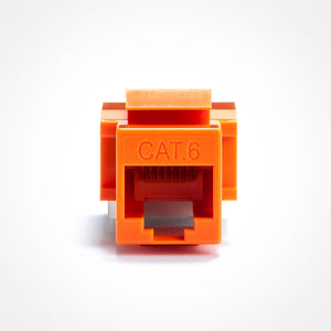 Cat6 Keystone Jack - Toolless, Orange Image 3