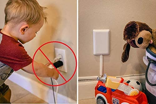 Sleek Socket Ultra-Thin Child Proofing Electrical Outlet Cover with 3 Outlet Power Strip and Cord Cover Kit, 8-Foot