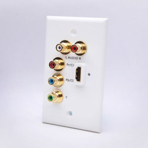 White HDMI with Component Video and RCA Wall Plate