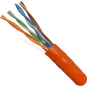 Orange 1000ft Bulk CAT6 Plenum Cable Closeup