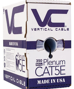 Vertical Cable 1000ft Solid Plenum Cat5E Cable - 24AWG 350MHz CMP Made in the USA