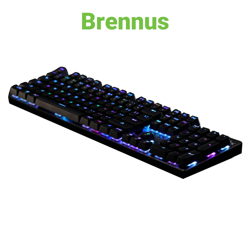 Velocilinx Brennus Wired Mechanical Gaming Keyboard, Gun Metal/Black, VXGM-KB104P-OBL-BK