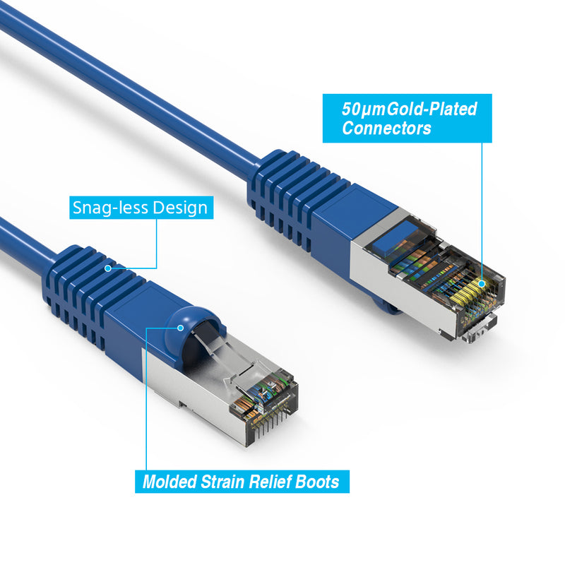 Cat7 Shielded (SSTP) 600MHz Ethernet Patch Cable, Snagless Boot, Blue (1-100ft)