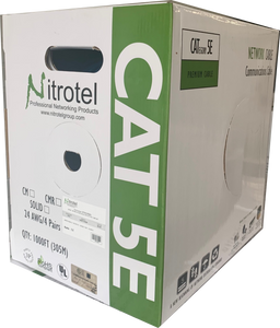 Nitrotel Cat5E 350 MHz 24 AWG Solid 4PR UTP, PVC CMR JKT - 1000 FT BOX, Black, UL Listed