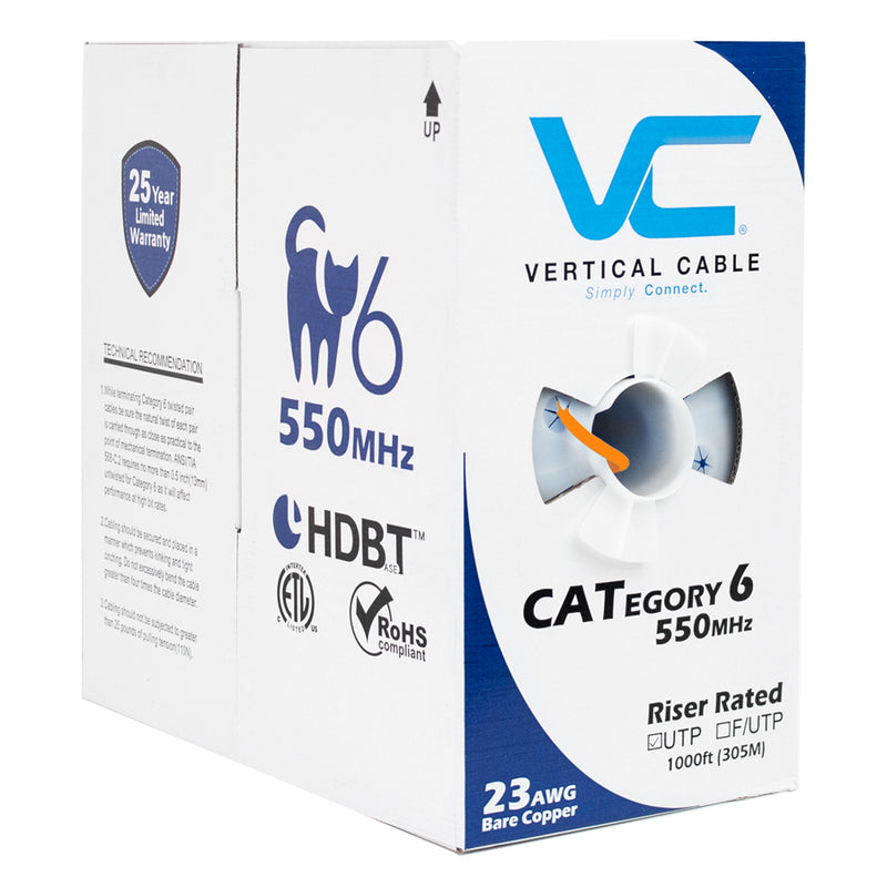 Vertical Cable 1000ft Solid Cat6 Cable - 23AWG 550MHz CMR