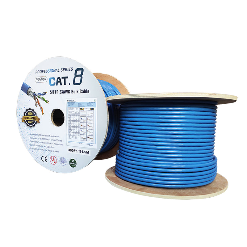 300Ft Cat.8 Solid S/FTP Bulk Wire 23AWG 40Gbps Blue