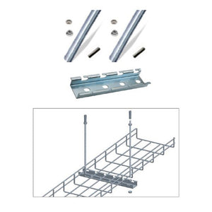 Quest Cable Tray Ceiling Hanging Bar Kit with Rods, Zinc