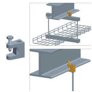 Quest Cable Tray I-Beam Mounting Clip, Zinc