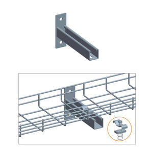 Quest Cable Tray T Wall Holder with Clamp Set, Zinc