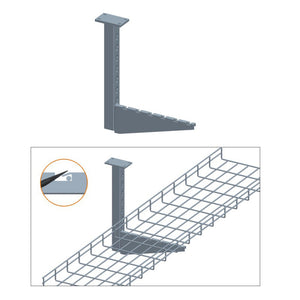 Quest Cable Tray Ceiling Flag Bracket, Zinc