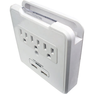 Quest Wall Surge Tap, 3-Outlets W/ 2 USB Ports And Cell Holder, ETL