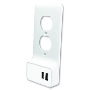 Quest Wall Plate W/ Dual USB Charging, White, ETL