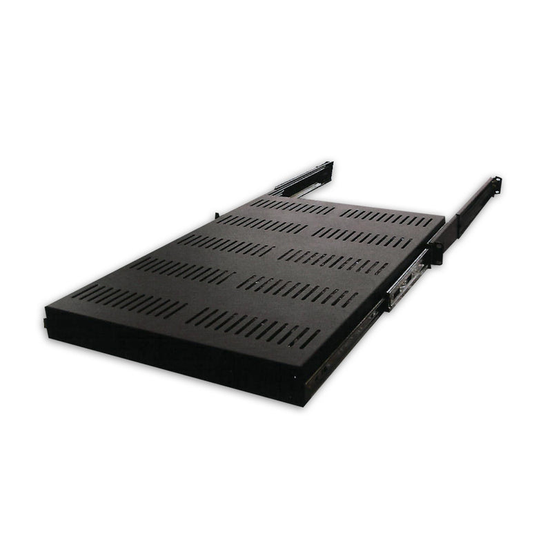 Quest 26 Inch (37 Inch Ext) 1 Unit (1U) Vented High-Load Capacity Sliding Rack Shelf