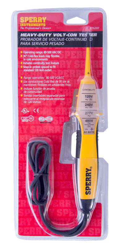 Sperry Instruments Heavy Duty 4-Range Voltage-Continuity Tester, 80-480 V AC/DC, 1/Ea, ET6207