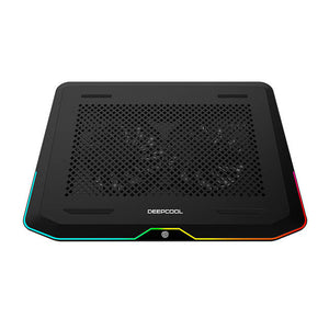 DEEP COOL N80 RGB Laptop Cooling Pad, 16.7 Million RGB Colors LED, Pure Metal Panel, Two 140mm Fans, Two Adjustable Angels, Two USB 3.0 Ports, Capacitive Touch Key, up to 17.3