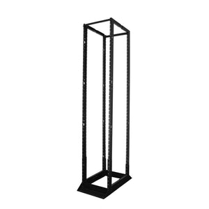 Quest 45 Unit (45U) 4-Post Open Frame Steel Floor Rack, Black