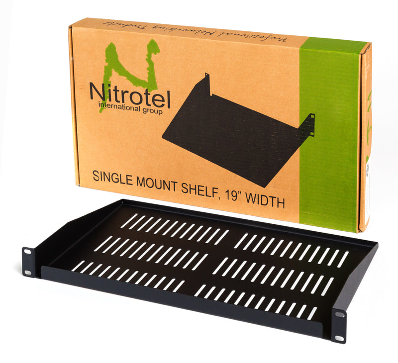 "Nitrotel 1U 19"" Format Vented Fixed Shelf, SPCC Cold Rolled Steel"