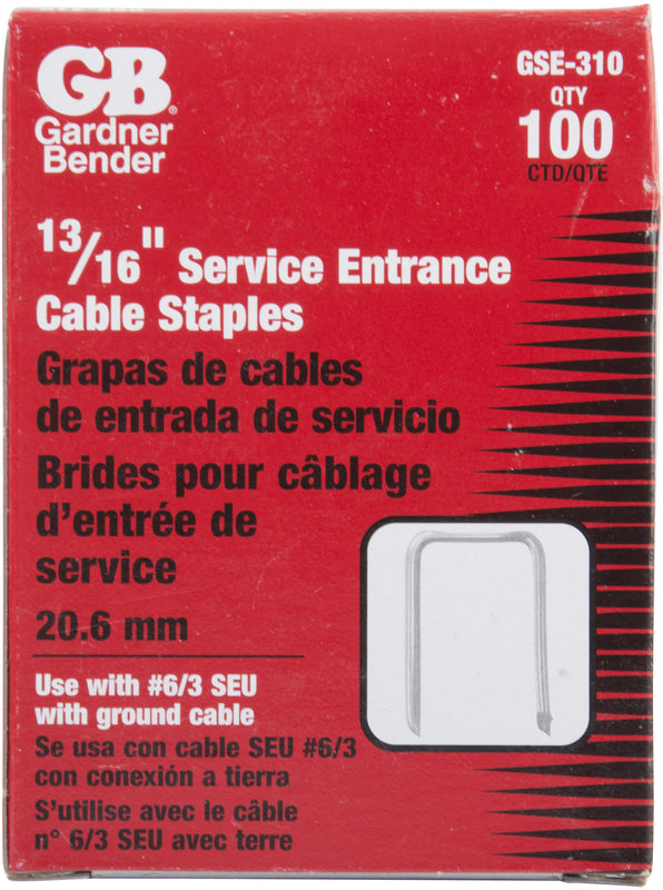 Gardner Bender 13/16 in. x 1-3/8 in. Gray Steel Staples for Service Entrance Cables (100-Pack), GSE-310