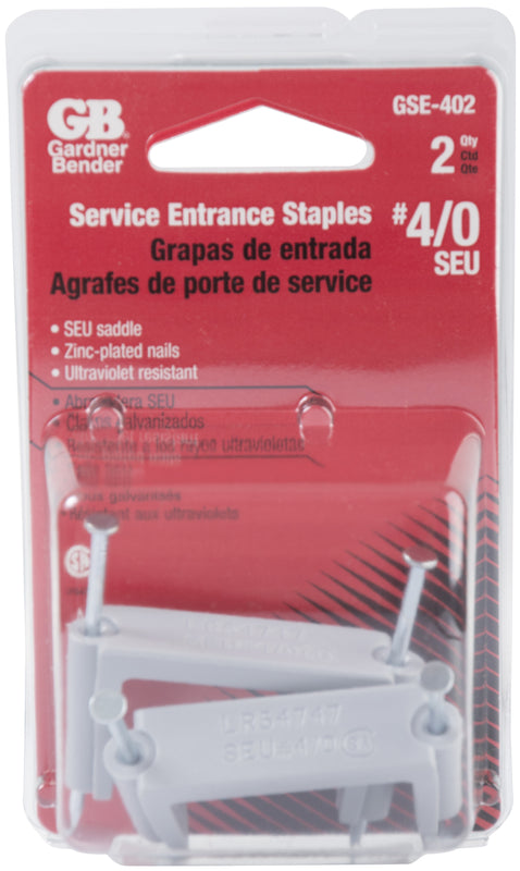 Gardner Bender #4/0 SEU Polyethylene Service Entrance Cable Strap Staple, Zinc-Plated Nails, Grey, Wood, (2-Pk), GSE-402