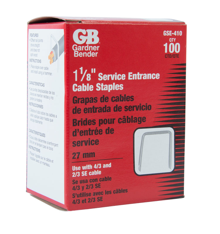 Gardner Bender 1-1/16 in. x 1-7/16 in. Gray Steel Staples for Service Entrance Cables (100-Pack), GSE-410