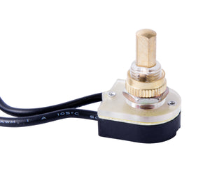 Gardner Bender 1/6/3 Amp Single-Pole Maintained Contact Push-Button Switch- Brass Plating, GSW-25