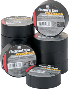 Gardner Bender Black Electrical Tape, 3/4 in. W x 30 Ft. L x 7 ml, Lead Free, PVC, (10/Pk Sleeve) , GTP-307