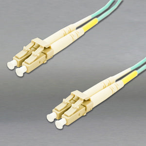 DINSpace LC/LC Multimode 50 Micron (OM3) Duplex Fiber Patch Cable, 10 Gig Aqua