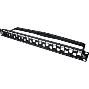 Quest 24 Port Staggered Patch Panel with Rear Cable Management, 1U