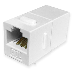 Quest Cat6A Inline Keystone Coupler, RJ45, White