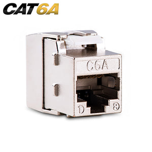 Quest Cat6A Shielded 180 Degree Tooless Keystone Jack, PoE++, Silver