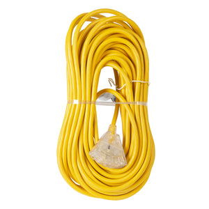 Extension Cord 100ft SJTW Yellow 12/3 Lighted End Triple Tap