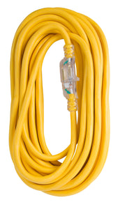 Extension Cord 100ft SJTW Yellow 12/3 Lighted End
