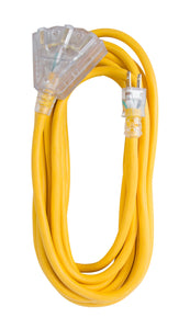 Extension Cord 25ft SJTW Yellow 12/3 Lighted End Triple Tap