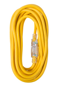 Extension Cord 25ft SJTW Yellow 12/3 Lighted End