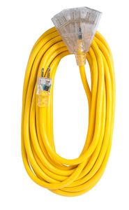 Extension Cord 50ft SJTW Yellow 12/3 Lighted End Triple Tap