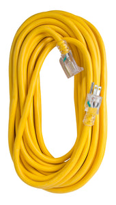 Extension Cord 50ft SJTW Yellow 12/3 Lighted End