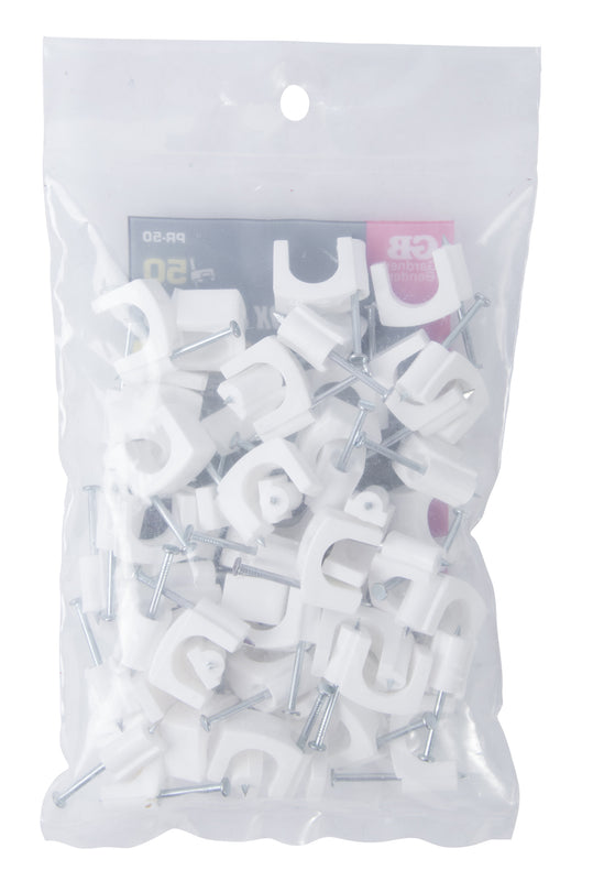 Gardner Bender 7/16 in. (11mm) Polyethylene Coaxial Cable Staple, Secures RG-8,RG-6, RG-59, White (50-Bag), PR-50