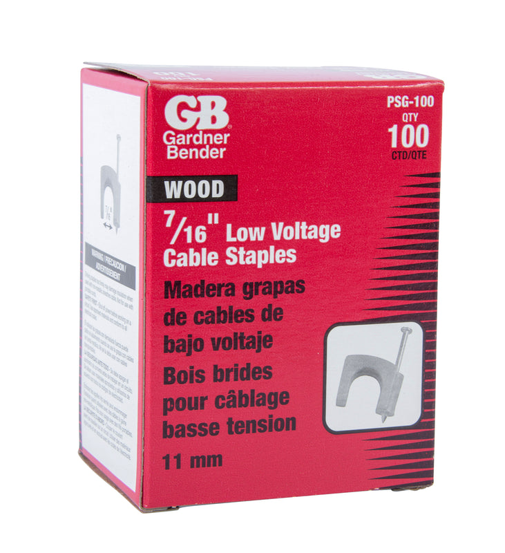 Gardner Bender 7/16 in. Gray Polyethylene Cable Staples for RG-59 and RG-6 Coaxial Cable (100-Pack), PSG-100