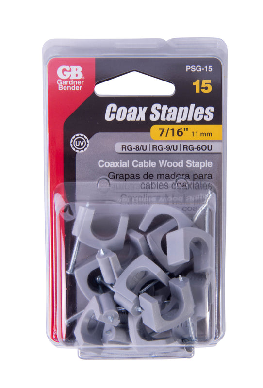 Gardner Bender 7/16 in. (11mm) Polyethylene Coaxial Cable Staple, Secures RG-8, Triaxial, Up to 25 pairs UTP, Gray (15/Pkg), PSG-15