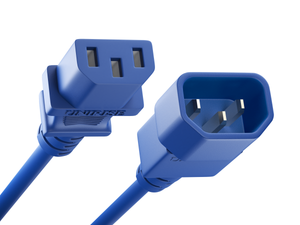 Unirise Server/Switch/PDU Power Cord, C13-C14, 14AWG, 15amp, 250V, SJT Jacket, Blue